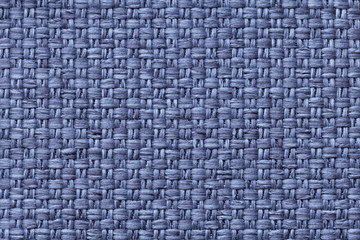 Blue wine textile background with checkered pattern, closeup. Structure of the fabric macro.