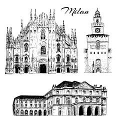 Milan sightseeing set. Duomo di Milano, Teatro alla Scala, Sforza Castle. Italy. Vector hand drawn sketch
