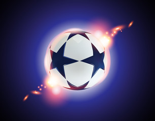 3D Soccer ball. Football ball with blue stars on blue background.