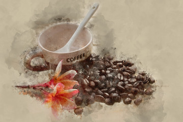 Watercolor effect picture of coffee cup and flower