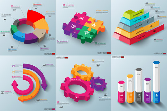 Set of abstract 3d paper infographic