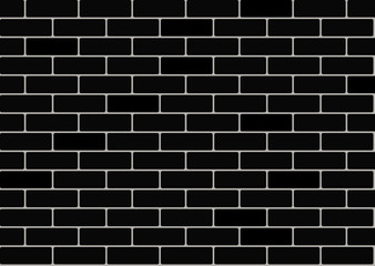 Black brick wall background. Vector seamless pattern
