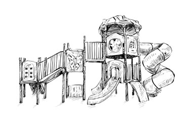 sketch of playground zone for kids, illustration vector