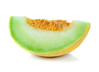 cantaloupe melon slices on white background.