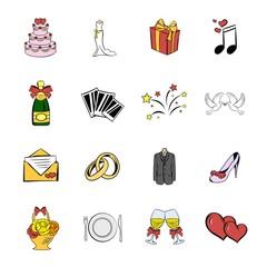 Wedding icons set cartoon