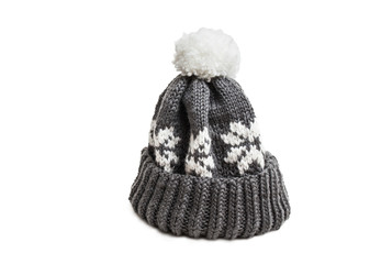 winter knitted cap isolated on white background