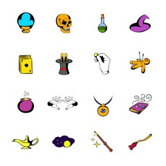 Magic comics icons set cartoon