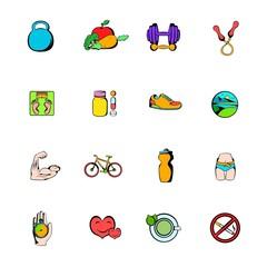 Healthy lifestyle icons set cartoon