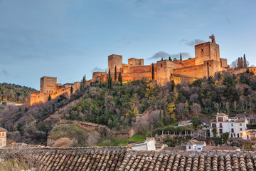 Night view of the Alhambra from the Mirador de Carvajales.