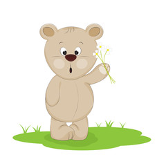 Cute little Teddy bear carry a bouquet flowers on a white background