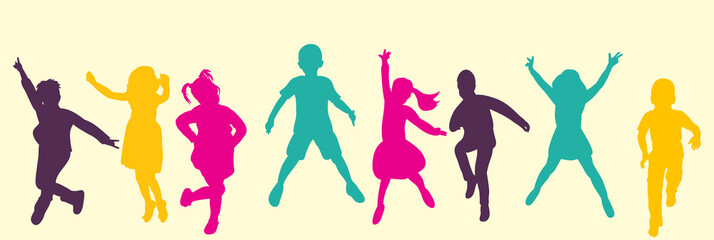 Vector, isolated, silhouette children jumping, multicolored silhouettes