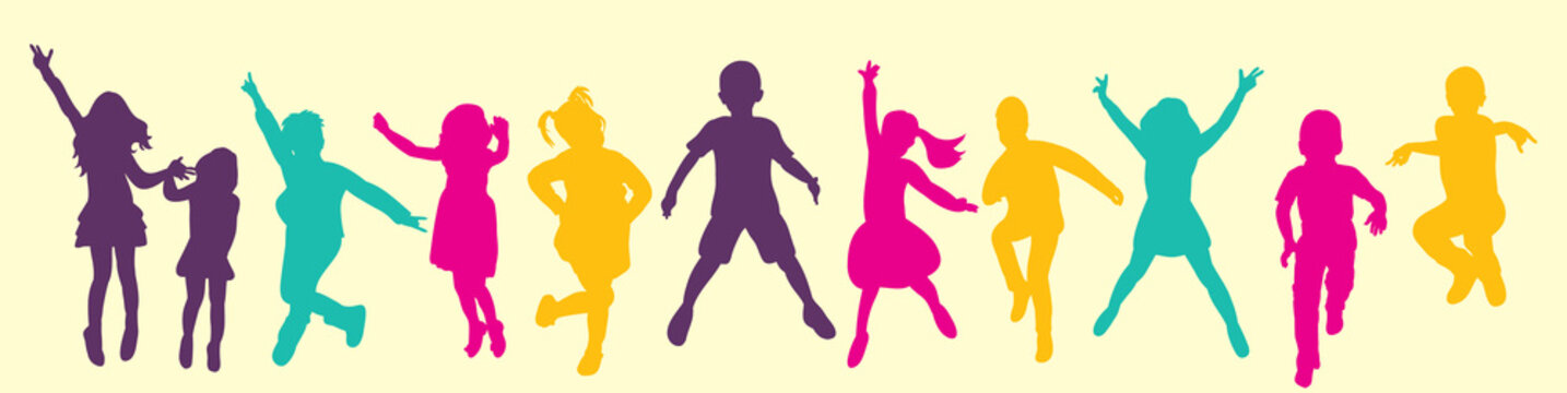 Vector, isolated, silhouette children jumping, multicolored silhouettes, childhood