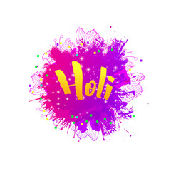 Holi holiday greeting emblem