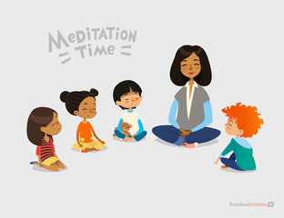 Preschool female teacher and smiling kids sitting in circle on floor and doing yoga exercise. Meditation lesson in kindergarten concept. Vector illustration for banner, website, poster, postcard.