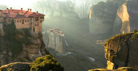 Obraz Serene morning in impressive Meteora monasteries. Central Greece - fototapety do salonu