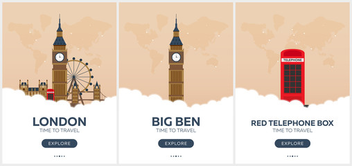 England. London. Time to travel. Set of Travel posters. Vector flat illustration.