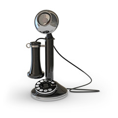 Retro telephone set  3D illustration (3D rendering)
