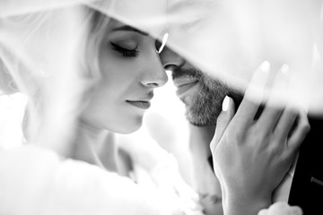 Bride and groom kisses tenderly in the shadow of a flying veil .beautiful pictures. guys enjoy. Sexy kissing stylish couple of lovers close up portrait  . black and white