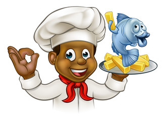 Cartoon Fish and Chips Chef
