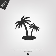 Two palm on the island vector icon