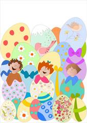 bambini che escono da uova pasquali