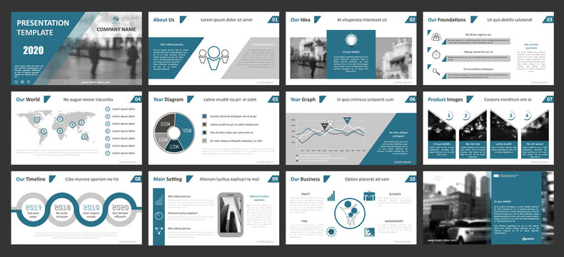 Creative set of abstract infographic elements. Modern presentation template with title sheet. Brochure design in gray, dark blue, white colors. Vector illustration. City street image. Urban