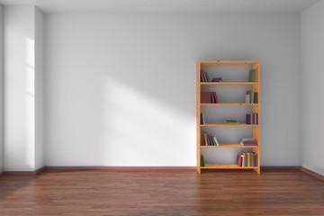 Empty white room with bookshelf interior