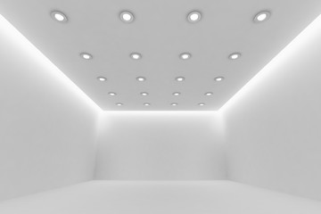 Еmpty white room with small round ceiling lamps wide view
