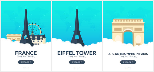 France. Time to travel. Set of Travel posters. Vector flat illustration.