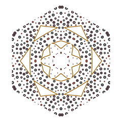Primitive geometric sacra retro pattern with lines and circles.