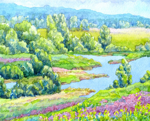 Watercolor landscape. Summer river in the meadows of the valley