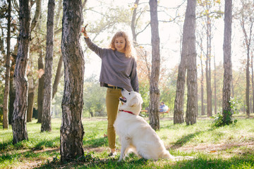 Young female playing with labrador retriever dog in park