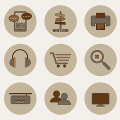 Set of modern flat design icons on brown theme.