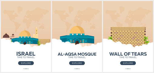 Israel. Time to travel. Set of Travel posters. Vector flat illustration.