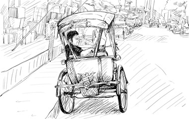 Sketch cityscape of Chiangmai, Thailand, show local tricycle and people, illustration vector