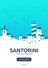 Door stickers Green coral Greece. Santorini. Time to travel. Travel poster. Vector flat illustration.