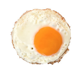 Fried egg top view isolated on white background