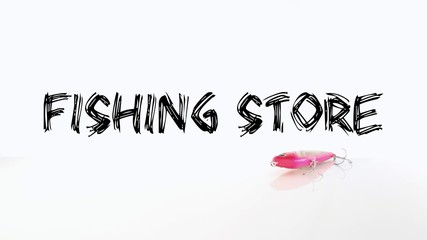 Fishing Store Header with Lure on a Plain White Background