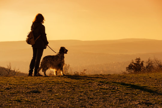 Woman with her english setter dog on a mountain looking at the autumn landscape