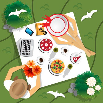 The guy with the girl on a picnic. View from above. Vector illustration.