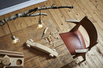 wood carving workspace creative hobby wood and modern design