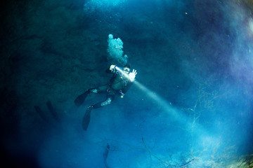 Wall Mural - cenotes cave diving in the pit