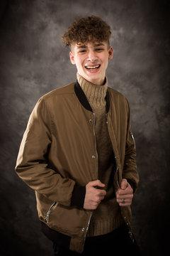 White Laughing Teenage Boy Studio Portrait Senior Pictures
