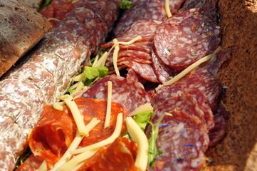 Catering salami. Buffet. Appetizers