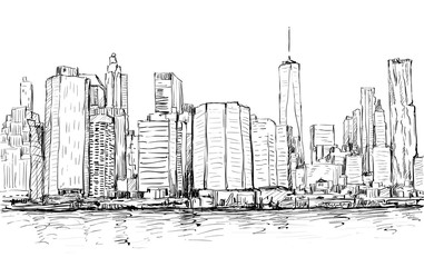 Sketch of cityscape in New York show Manhattan midtown with skyscrapers, illustration vector