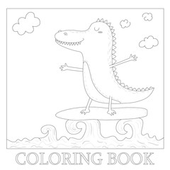 coloring book with cute surf crocodile afloat vector illustration
