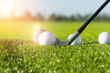 Golf club and ball in grass and sunset