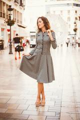 Girl in Malaga in a 60ties dress