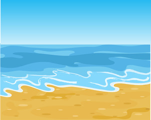 Summer Sandy Sea Beach. Vector Illustration