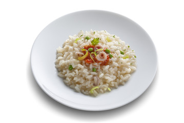 Dish with rice salad with shrimp and tomato